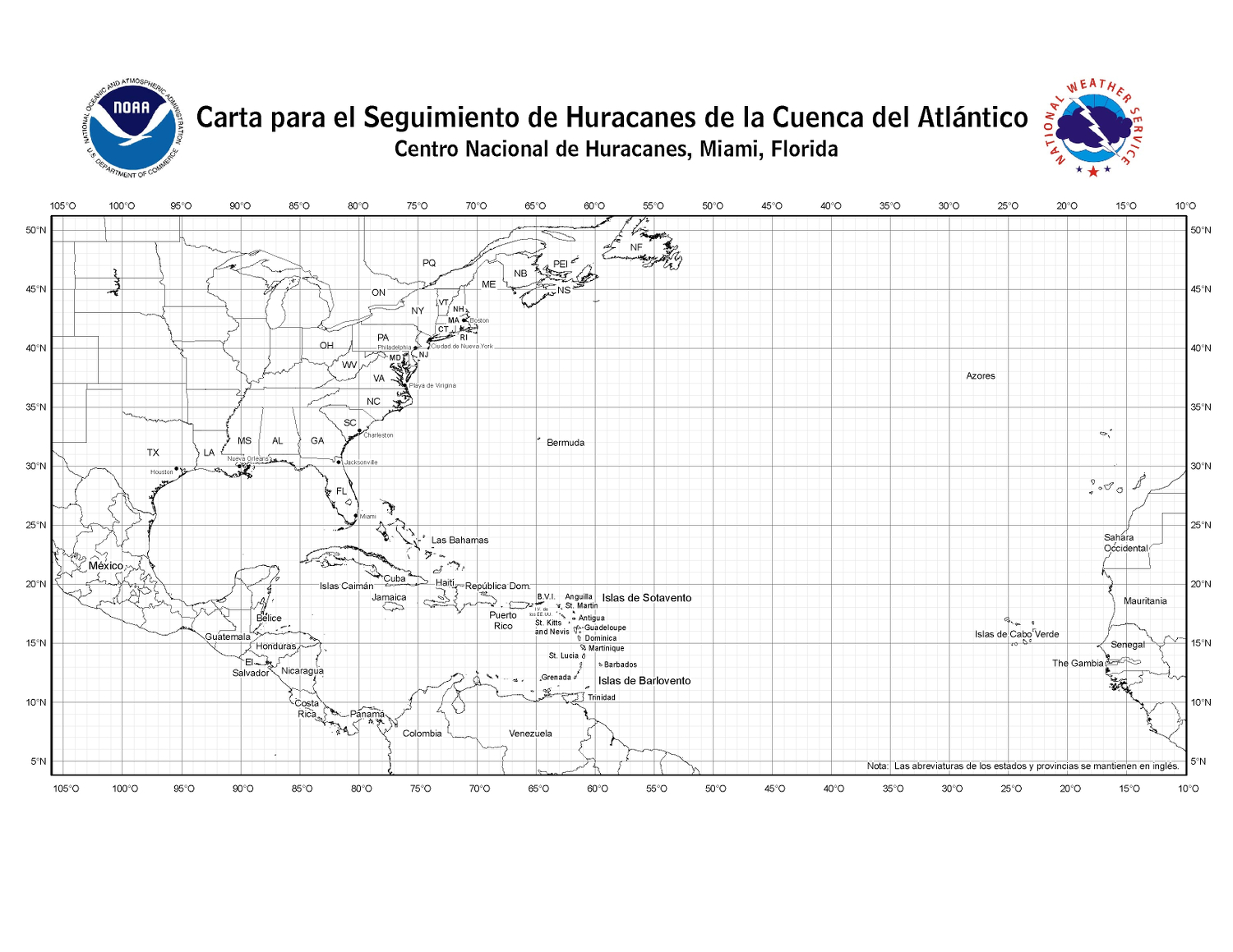 Atlantic Ocean Hurricane Chart